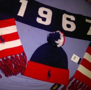 Ralph Lauren polo set hat and scarf new